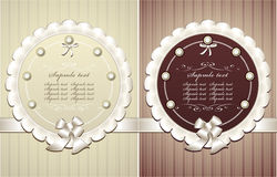 Frames with pearls bow in retro style Royalty Free Stock Image