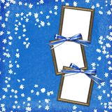 Frames for photo on grunge blue background Stock Images