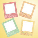 Frames for photo on a wall. Orange, red, green and yellow Royalty Free Stock Photo