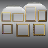 Frames for photos and pictures of golden color Royalty Free Stock Photo