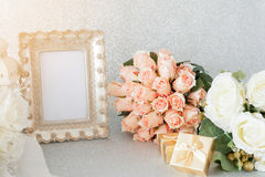 Frames Place the flowers Background Glitter. Elegant photo frames Place the flowers Background Glitter stock photos