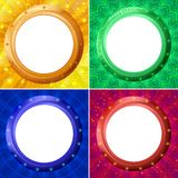 Frames porthole on color background, set Royalty Free Stock Image