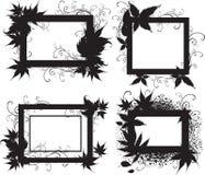 Frames pretos com folhas do outono. Acção de graças Fotos de Stock