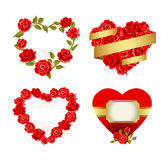 Frames with red roses. Vector set of ornamental frames with red roses stock illustration