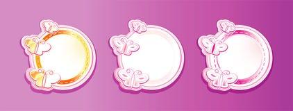 Frames redondos com borboletas, fundo violeta Ilustração do Vetor
