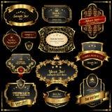 Frames retros do ouro no fundo preto Fotos de Stock Royalty Free