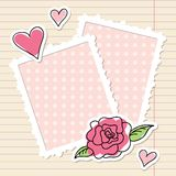Frames and rose. Photo frames, rose and hearts of paper Stock Photo