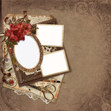 Frames with roses, retro decorations on vintage background Royalty Free Stock Image