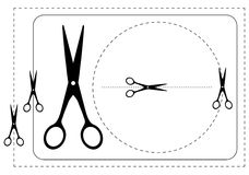 Frames and  scissors. Vector illustration. Black-and-white contour Stock Photo