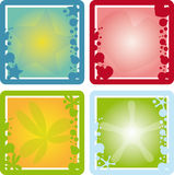 Frames set. Four squared frames with conceptual elements Royalty Free Stock Image