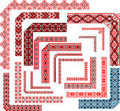 Frames - Set of Corner Patterns for Embroidery Stitch. Set of  ethnic patterns for embroidery stitch. Corners, frames, seamless borders Royalty Free Stock Photo