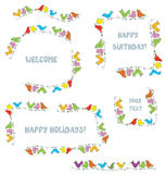 Frames set for events and holidays with funny birds royalty free illustration