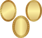 Frames. Set of  golden oval frames Stock Photo