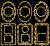 Frames. Set of golden frames  - vector illustration Stock Images