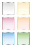 Frames silver, gold, glass, vector isolated objects. Set of six frames silver, gold, glass. Vector, isolated objects on white background Stock Photo