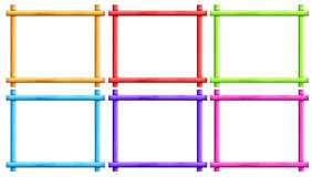 Frames. Six colorful frames on white background Stock Photo
