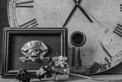 Frames skull on a black and white Stock Photo