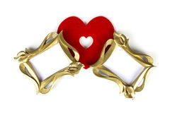 Frames Standing Close to a Heart. In white background Royalty Free Stock Photo
