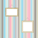 Frames on striped wallpaper background. Vector Royalty Free Stock Photos