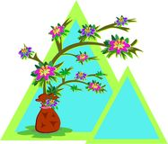 Frames of Triangles and Potted Flower Plant Royalty Free Stock Photo