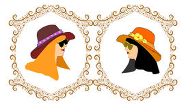 Frames with two girls avatars hat Royalty Free Stock Image