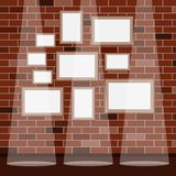 Frames under the picture on a brick wall background. Frame. A set of frames under the picture. royalty free illustration