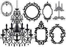 Frames velhos do candelabro e de retrato Foto de Stock Royalty Free