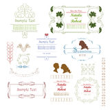Frames and vignettes. With silhouettes and calligraphic  line Stock Photo