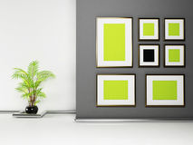 Frames on the wall and a plant Royalty Free Stock Images