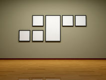 Frames on the wall of the room. Stock Photo
