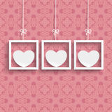 Frames 3 White Hearts Ornaments Stock Photography