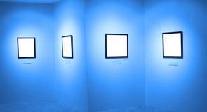 Frames on white wall in art museum. Frames on white wall in  museum Stock Photography