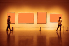 Frames on white wall art museum. Frames on white wall in art museum royalty free stock photo