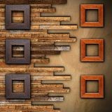Frames on wooden finished wall Royalty Free Stock Images