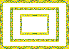 Frames yellow of flowers. Three frame / border with yellow spring flowers, vector drawings, patterns repeatable Royalty Free Stock Photography