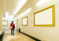 Frames on Yellow wall Royalty Free Stock Photography