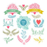 FramesHand drawing. set of vintage design elements. Twigs, hearts, invitations. Perfect for invitations, greeting cards, posters prints Stock Photography