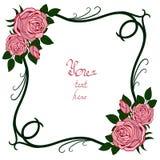 Framewith z różami Obrazy Royalty Free