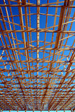 Framework. Wooden framework on construction site royalty free stock photos
