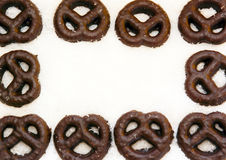 Framework of chocolate pretzels Royalty Free Stock Image