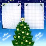 Framework for christmas congratulations,. Blue background with two letters and New Year's tree Royalty Free Stock Photos