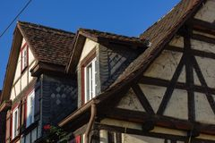 Framework facade with window shutters. On a sunny summer morning in south germany city schwaebeisch gmuend stock photo