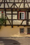 Framework facade with window shutters. On a sunny summer morning in south germany city schwaebeisch gmuend royalty free stock photos