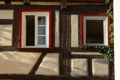 Framework facade with window shutters. On a sunny summer morning in south germany city schwaebeisch gmuend royalty free stock photography