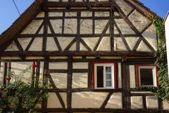 Framework facade with window shutters. On a sunny summer morning in south germany city schwaebeisch gmuend royalty free stock photo