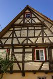 Framework facade with window shutters. On a sunny summer morning in south germany city schwaebeisch gmuend royalty free stock images