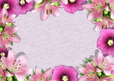 Framework from flowers 2. Framework from flowers, album page. There is an empty seat for design Royalty Free Stock Image