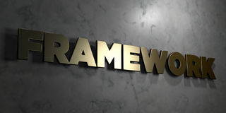 Framework - Gold sign mounted on glossy marble wall  - 3D rendered royalty free stock illustration Royalty Free Stock Photography