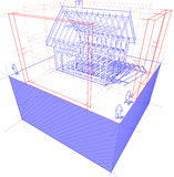 Framework house with dimensions diagram. Diagram of a framework construction of a detached house with 3D dimensions Royalty Free Stock Image