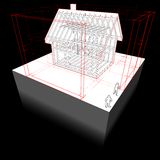 Framework house with dimensions diagram Stock Image